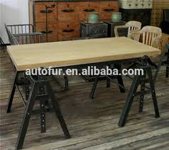 wooden top vintage industrial dining tables with wheel in dining
