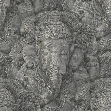 rasch stone ganesha pattern wallpaper realistic faux effect 525502 rasch stone ganesha photographic pattern wallpaper realistic faux effect elephant 525502