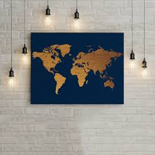 Blue And Gold Home Decor World Map Blue And Gold Home Decor Wall Art Poster Office Decor