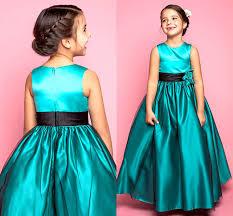 green long a line wedding gowns kids formal wear jewel satin hand