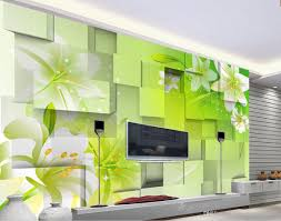 lily fantasy flower 3d cube 3d tv wall mural wall papers for tv 52