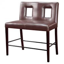 furniture brown leather dining bench with back and wooden legs as