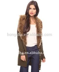 sweater with faux fur collar custom cardigan longline knitted sweater with removable faux