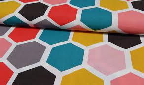 meterware stoff bedruckter baumwoll canvas meterware stoff hexagon online kaufen