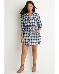 forever 21 plus size belted plaid shirt dress in blue lyst