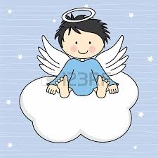baby boy sleeping on a cloud birthday card royalty free cliparts