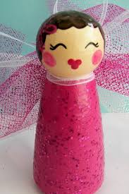 Seeking Cupid Painted Boxes Pink Cupid Peg Doll Wood