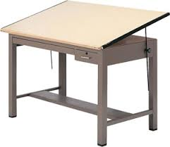 Steel Drafting Table Mayline 7734b Ranger Steel Four Post Drafting Table With Tool