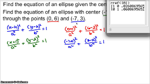 equation of an ellipse given 2 points youtube