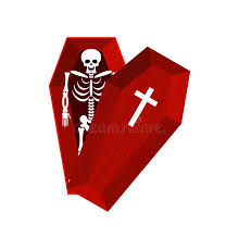 skeleton in coffin open casket and skull and bones dead man in