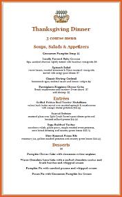thanksgiving menu template resume name