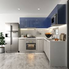 light grey acrylic kitchen cabinets oppein kitchen in africa mix color grey laminate and blue