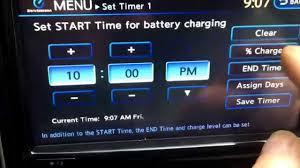 nissan leaf free charging 2012 nissan leaf charge timer set up youtube