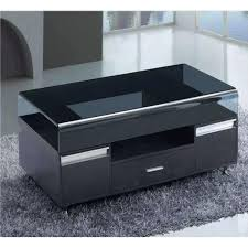 Glass Living Room Furniture Black Glass Top Coffee Table With 3 Drawers Living Room Furniture