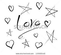 vector sketch collection hearts stars word stock vector 133500440