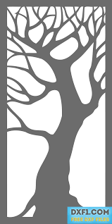 tree decorative panel free dxf file for plasma cutting laser