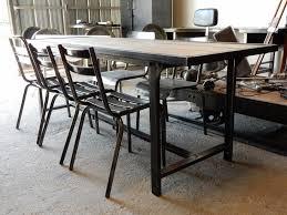 Table Acier Bois Industriel by Ancienne Table Militaire Fer Et Bois Geonancy Design