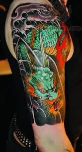 colorful dragon tattoo shoulder
