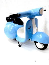 blue xl wooden vespa moneybox large statement italian scooter ornament