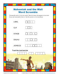 nehemiah and the wall word scramble sunday pinterest