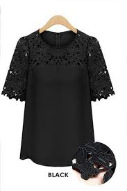 tomcarry women lace decorated blouse short sleeves formal shirt