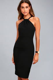 my black dress black dress bodycon dress midi dress lbd halter dress