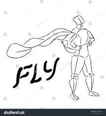 vector illustration stylized sketch figure flying stock vector