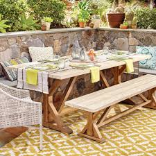 Patio Tablecloth by Two Tone Wood San Remo Trestle Dining Table World Market