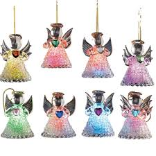amazon com color changing glass angel ornaments set of 8 home