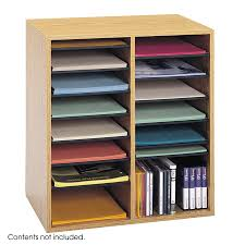 Oak Desk Organizer by Wood Adjustable Literature Organizer 16 Compartment Safco Products