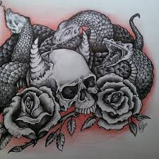 black and white snakes with skull and roses design