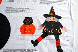 vintage halloween fabrics vintage cut and sew halloween witch decoration black cat jol