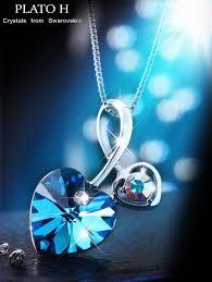 swarovski necklace blue stone images Heart shape pandent necklace plato h quot soul mate quot love heart jpg