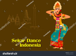 vector design woman performing sekar dance stock vector 414270847