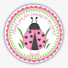 ladybug pink and green personalized stickers party favor