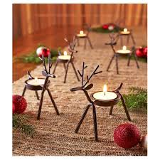 reindeer tealight candle holders metal set of 6