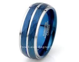 mens blue wedding bands tungsten wedding band blue tungsten ring brushed tungsten