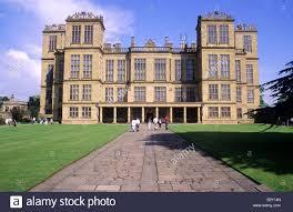 hardwick hall with visitors people derbyshire english tudor stock