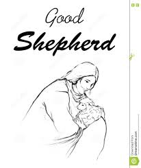 jesus holding a lamb in his arms drawing line art illustration