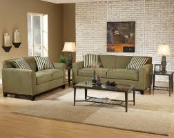 living green sofas on the white floor with small wallpaper make