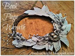 twiggy book page wreath twelveoeight