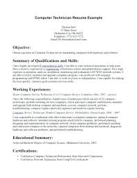 Resume For Computer Science Sample Resume For Computer Technician Resume Sample Resume