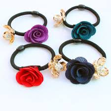 hair rubber bands 5pcs lot gold plated fabric flower hair holders