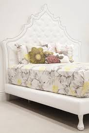 tufted headboard full size for bed in white faux leather i