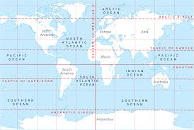 Ocean Map World by Continents Lines Of Latitude And Longitude Oceans And Ocean