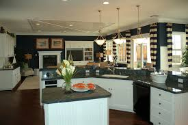 Blue Kitchens With White Cabinets Dark Navy Walls And White Cabinets Are Balance Matching Granite