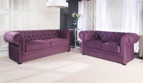 Purple Velvet Chesterfield Sofa Furniture Two Purple Fabric Chesterfield Sofa With Side