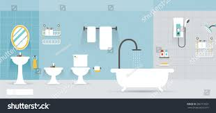 bathroom furniture display panorama household home stock vector