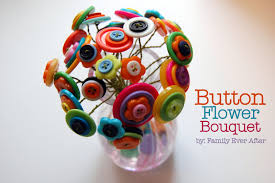 family ever after kid craft button flower bouquet