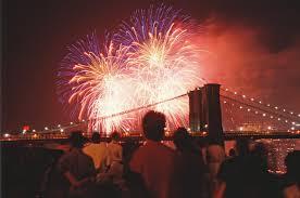 chagne bottle fireworks pulls on 4th of july fireworks near bridge